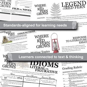 WHERE THE RED FERN GROWS Unit Novel Study Bundle