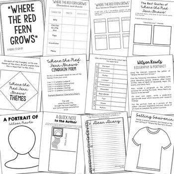 WHERE THE RED FERN GROWS Novel Study Unit Activities
