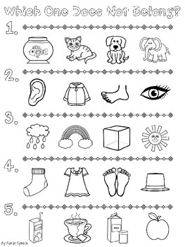 Which One Does Not Belong? Print & Go Worksheets for