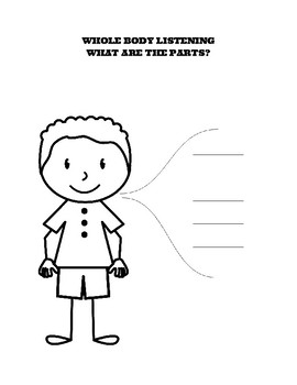 Whole Body Listening worksheet stand sit 5 sheet boy and