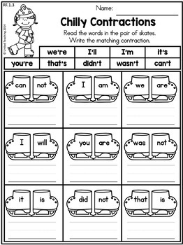 Winter 1st Grade No Prep Language Arts Worksheets by