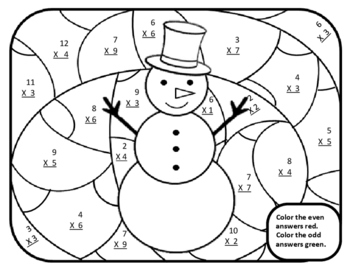 Snowman Math Multiplication Winter Color by Number Math