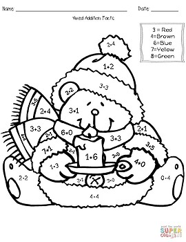 Winter Addition & Subtraction Coloring Worksheets by Teach