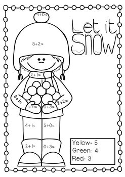 Winter Addition and Subtraction to 20 Coloring Pages by