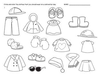 Winter Clothes Sorting Worksheet {FREEBIE} by Grumpy