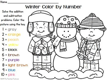 Winter Color by Number ~ Ad... by The Teaching Treehouse