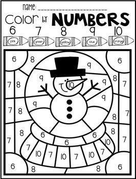 Winter Color by Code Numbers 1-10 Activities by