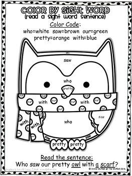 Winter Color by Sight Word Sentences (primer) by The