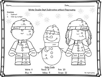 Winter Double Digit 2 Digit Subtraction with and without