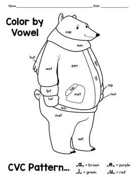 Winter Activity CVC Word Color By Vowel Coloring Pages by