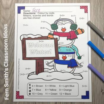 Colour By Numbers Winter Math Addition and Subtraction UK