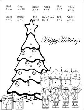 Solving Equations Christmas Coloring Activity {Pre Algebra