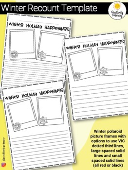 Winter Holiday Recount Writing Template FREEBIE! by
