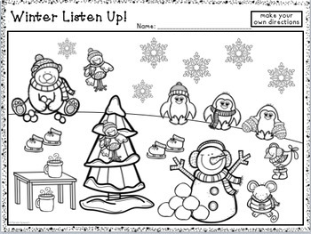 Winter Listen Up! Following Directions FREEBIE by Panda Speech