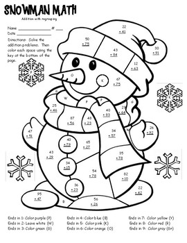Winter Math Facts Color Sheet 2 digit addition with