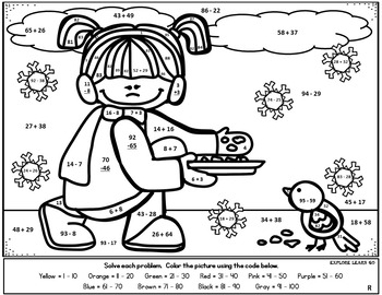 Winter Math Fun / Two Digit Addition & Subtraction / Color