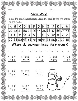 Winter Math Secret Code Addition by Ripley's Learning