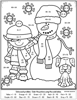 Winter Math / Snowmen Two Digit Addition & Subtraction