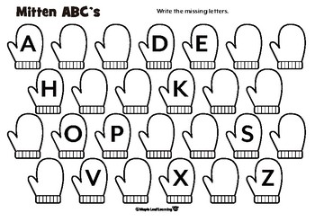 Winter Mittens Alphabet Coloring Activity by Maple Leaf