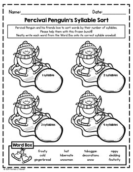 Winter ELA & Math Printables and Whole Class Activity