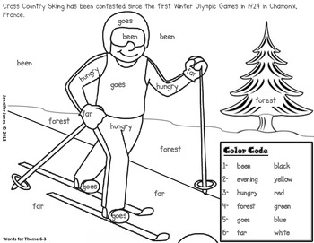 Winter Olympic Sight Word Roll and Color-First Grade by