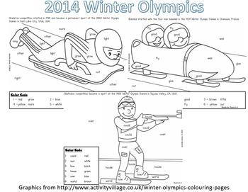 Winter Olympic Sight Word Roll and Color-First Grade-Theme