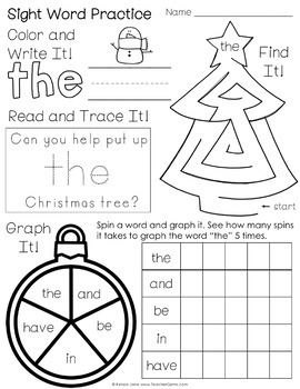 Winter Sight Word Warm Ups {FLASH DEAL 50% OFF LIMITED