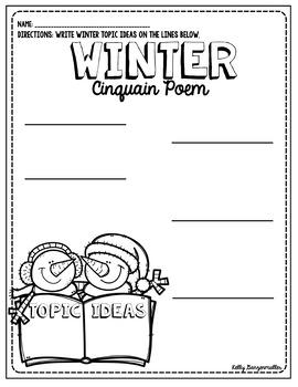 Winter Snow Cinquain Poem Craftivity and graphic