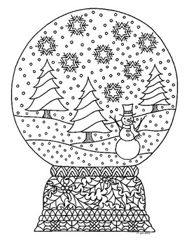 Winter Snow Globe Zentangle Coloring Page by Pamela