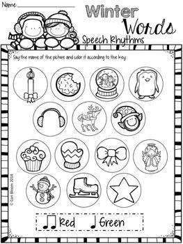 FREE Winter Speech Rhythm Printable Worksheets by Cori