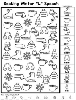 Winter Speech Therapy Seeking Activity {articulation} by