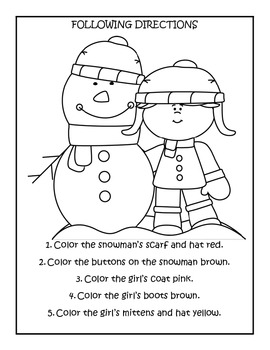 Winter Theme Pre-K Following Directions worksheets by kim