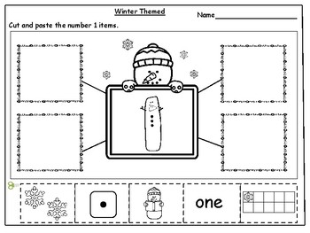 KidsLearningBasket: Winter Themed Number Sense (1-10) Cut