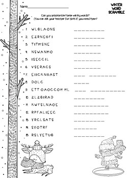 Winter Word Scramble by The Nine and Three Quarters