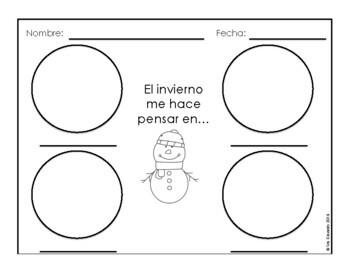 Spanish Winter Word Wall Vocabulary Exercises Writing