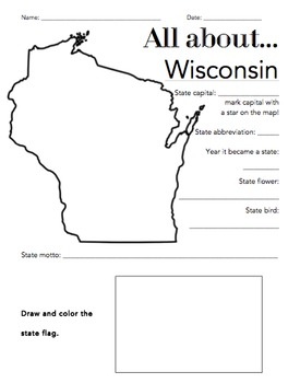 Wisconsin State Facts Worksheet: Elementary Version by The