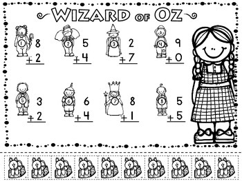 Wizard of Oz Adding & Subtracting Practice Sheets (10) w