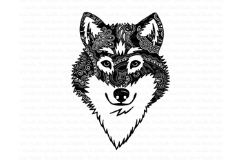 Wolf SVG, Wolf Head SVG, Wolf Mandala SVG files. by Doodle