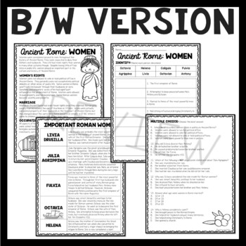 Women Of Ancient Rome Reading Comprehension Worksheet