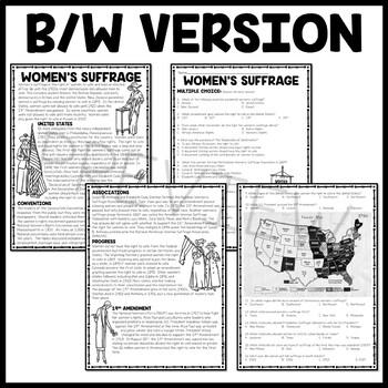 Women's Suffrage Reading Comprehension Worksheet, DBQ