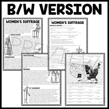 Women's Suffrage Reading Comprehension Worksheet and