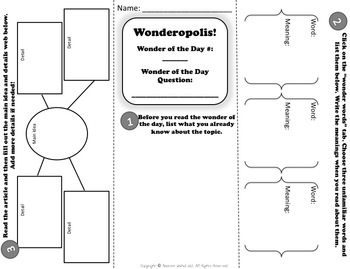 Wonderopolis Activity Sheet Trifold by Upper Grades Are