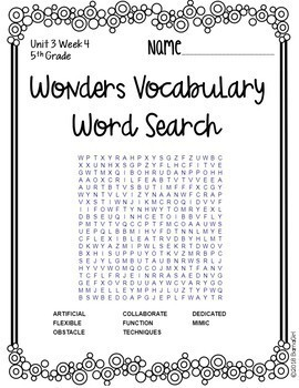 Wonders McGraw Hill 5th Grade Vocabulary Word Search