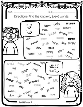 Wonders Unit 4 Week 5 Phonics: Long e: y & ey by Two By