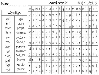 Wonders Unit 4 Word Search Grade 2 by The Second Grade