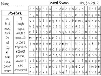 Wonders Unit 5 Word Search Grade 2 by The Second Grade