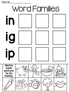 Word Families Worksheets and Puzzles Bundle by Miss