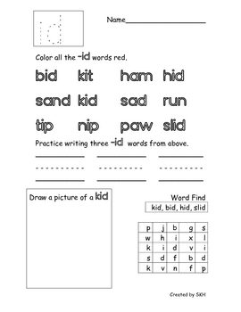 Word Family Short I Worksheets By Sydney Hulbert