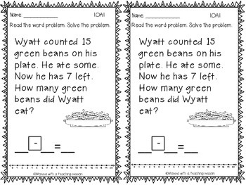 Thanksgiving Fall Word Problems CCSS 1.OA.1 by Momma with
