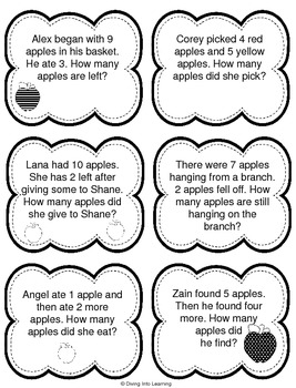 Word Problems: Apple Theme (First Grade) by Diving Into